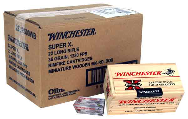 WIN AMMO WOOD BOX .22LR (CASE) 6-500RND. WOODEN GIFT BOXES