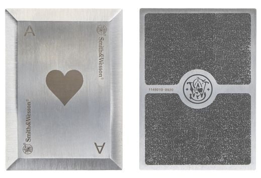 S&W BULLSEYE THROWING CARDS 4-PACK SS LASER ETCHED W/SHTH
