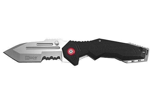 "MACE KNIFE TACTICAL FOLDING 4"" W/SPRING ASSIST BLACK<"