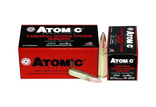 ATOMIC AMMO 7.62X39 SUBSONIC 220GR. HOLLOW POINT BT 50-PACK