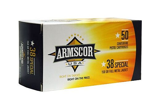 ARMSCOR AMMO .38 SPECIAL 158GR FMJ-RN 50-PACK MADE IN USA