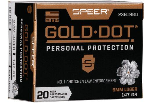 SPEER AMMO GOLD DOT 9MM LUGER 147GR. GDHP 20-PACK