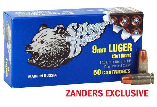SILVER BEAR 9MM LUGER 145GR HOLLOW-POINT ZINC PLATED 50PK