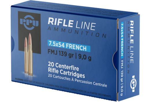 PPU AMMO 7.5X54 FRENCH MAUSER 139GR. FMJ 20-PACK