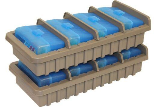 MTM AMMO RACK W/ 4 RS50 50RND FLIP TOP BOXES CLR BLUE/DK ETH