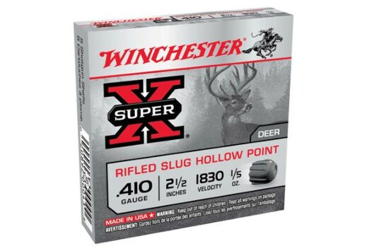 "WIN AMMO SUPER-X SLUGS .410 2.5"" 1830FPS. 1/5OZ. 5-PACK"