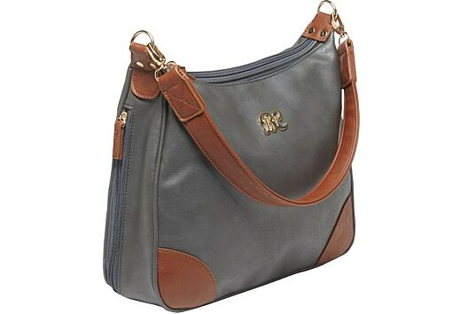 BULLDOG CONCEALED CARRY PURSE HOBO STYLE GRAY W/TAN TRIM<