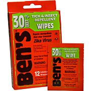 AMK BEN'S 30 INSECT REPELLENT 30% DEET WIPES 12 WIPES PERBOX