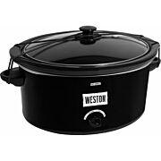 WESTON SLOW COOKER 8 QUART W/ LID & LATCH STRAP BLACK