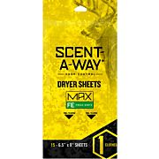 "HS DRYER SHEETS SCENT-A-WAY MAX ODERLESS 6.5""X9"" EARTH 15P"