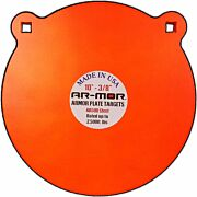 "AR-MOR 10"" AR500 STEEL GONG 1/2"" THICK STEEL ORANGE ROUND"
