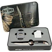 OLD TIMER KNIFE W/CIGAR CUTTER & LIGHTER W/GIFT TIN PROMO Q4