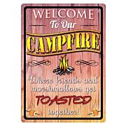 "RIVERS EDGE SIGN 12""x17"" ""WELCOME TO OUR CAMPFIRE"""