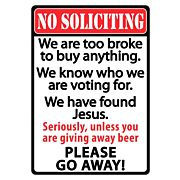 "RIVERS EDGE SIGN 12""x17"" ""NO SOLICITING"""