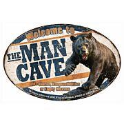 RIVERS EDGE MAN CAVE BEAR TIN SIGN