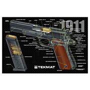 """TEKMAT ARMORERS BENCH MAT 11""""X17"""" 1911 PISTOL CUT AWAY"""