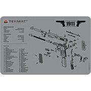 "TEKMAT ARMORERS BENCH MAT 11""X17"" 1911 PISTOL GREY"