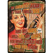 "RIVERS EDGE EMBOSSED SIGN 12""X17"" ""WIFE SELLS GUNS"""