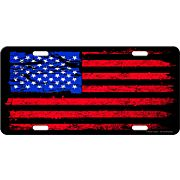 RIVERS EDGE LICENSE PLATE AMERICAN FLAG DISTRESSED