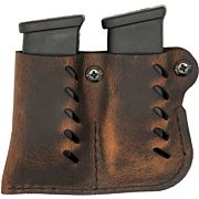 VERSACARRY LEATHER DBL MAG PCH DOUBLE STACK DISTRESSED BRN