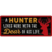 OPEN ROAD BRANDS DIE CUT EMB TIN SIGN A HUNTER LIVES HERE!