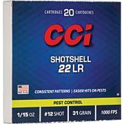 CCI AMMO .22LR SHOTSHELL 1000FPS. 31GR. #12 SHOT 20-PK
