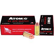 ATOMIC AMMO .45ACP MATCH 185GR LEAD SWC COPPER PLATED 50-PK