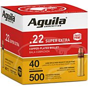 AGUILA AMMO .22LR HIGH VEL. 1255FPS. 40GR. PLATED LRN 500P