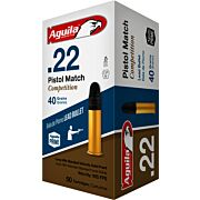 AGUILA AMMO PISTOL MATCH .22LR 925FPS. 40GR. LEAD RN 50-PACK