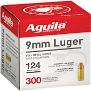 AGUILA AMMO 9MM LUGER 124GR. FMJ-RN 300-PACK