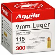 AGUILA AMMO 9MM LUGER 115GR. FMJ-RN 300-PACK