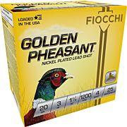 "FIOCCHI GOLDEN PHEASANT 20GA. 3"" 1200FPS. 1-1/4OZ. #4 25-PK"
