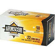 ARMSCOR AMMO .22LR HIGH-VEL 36GR. PLATED LEAD HP 50-PACK