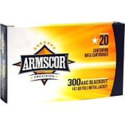 ARMSCOR AMMO .300AAC BLACKOUT 147GR. FMJ 20RD BOX