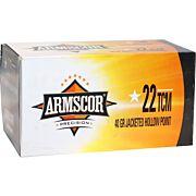 ARMSCOR AMMO .22TCM 40GR. JHP 100-PACK