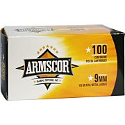 ARMSCOR AMMO 9MM LUGER 115GR. FMJ VALUE PACK 100 ROUND PACK