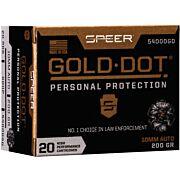 SPEER AMMO GOLD DOT 10MM AUTO 200GR. GDHP 20-PACK