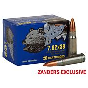 SILVER BEAR 7.62X39 123GR. FMJ ZINC PLATED 500 ROUND CASE