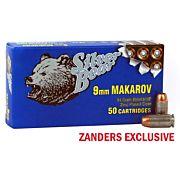 SILVER BEAR 9X18 MAKAROV 94GR. JHP ZINC PLATED CASE 50-PK