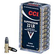 CCI AMMO SUPPRESSOR .22LR 970FPS. 45GR. HP 50PK.