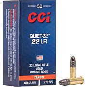 CCI AMMO QUIET .22LR 710FPS. 40GR. LEAD-RN 50-PK