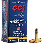 CCI AMMO QUIET .22LR 710FPS. 40GR. SEGMENTED HP 50-PK