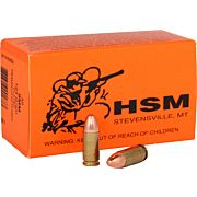 HSM AMMO RMFG 9MM LUGER 124GR PLATED LEAD ROUND NOSE 50-PACK