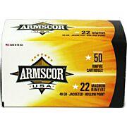 ARMSCOR AMMO .22WMR 40GR. JHP 50-PACK
