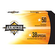 ARMSCOR AMMO .38 SPECIAL 158GR LEAD RNFP 50-PACK MADE IN USA