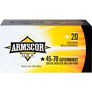 ARMSCOR AMMO .45-70 GOVT. 300GR. JHP 20-PACK