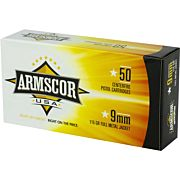 ARMSCOR AMMO 9MM LUGER 115GR. FMJ 50-PACK MADE IN USA
