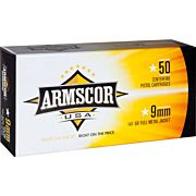 ARMSCOR AMMO 9MM LUGER 147GR. FMJ 50-PACK MADE IN USA