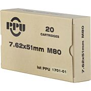 PPU AMMO 7.62X51MM 149GR. FMJ-BT 20-PACK