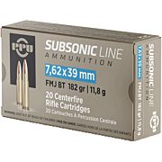PPU AMMO SUBSONIC 7.62X39 182GR. FMJ 20-PACK